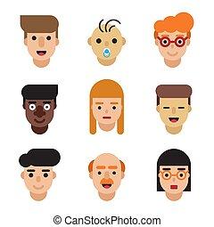 People avatars set. Modern flat character cartoon faces.