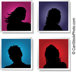 People avatars - Silhouettes of people on coloured gradient...