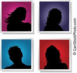People avatars - Silhouettes of people on coloured gradient...