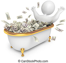 People awash in cash, 3d render