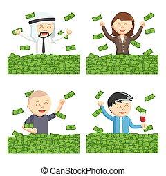 people bathing in money set