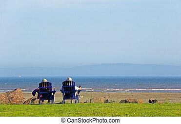 People Beach Chairs Summer Scene