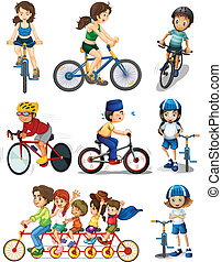 People biking - Illustration of the people biking on a white...