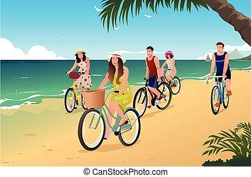 People Biking on the Beach