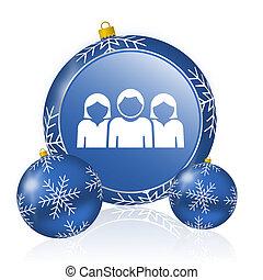 People blue christmas balls icon