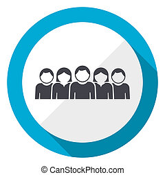 People blue flat design web icon