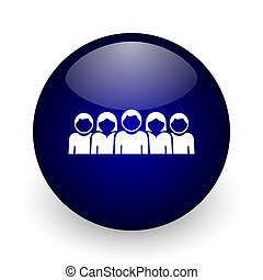 People blue glossy ball web icon on white background. Round 3d render button.