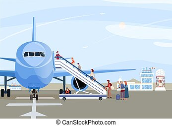 People boarding airplane, passengers walking up ramp, plane on airport runway, vector illustration