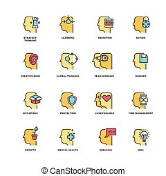 People brain thinking, mental health outline icons with flat...