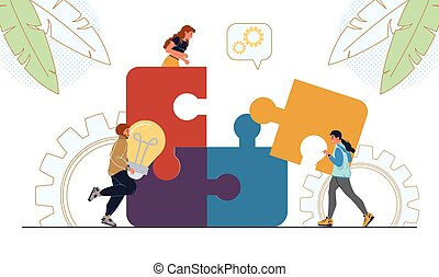 People brainstorming connect business puzzle piece