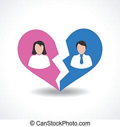 people break the love relationship concept vector