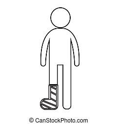 People Broken Arm and Leg Icon Illustration design
