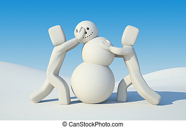 People build snowman - Illustration for New Year and...
