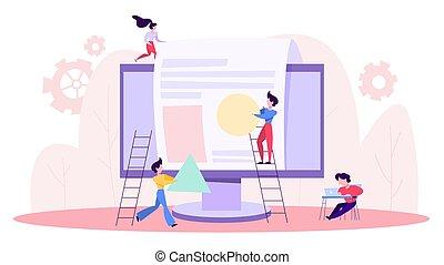 People build website. Web page development process