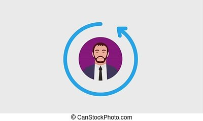 people buisness portrait characters animation hd