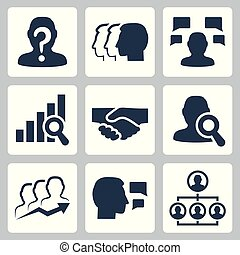 People, business and job related vector icon set