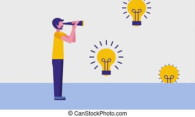 people business animation - businessman with telescope...