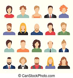 People business avatars. Team avatars working office professional young female male cartoon face portrait flat design vector icons