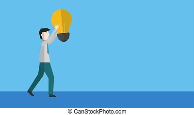people business success - businessman holding light bulb...