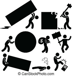 A set of pictogram showing situations of frustration situation in workplace.