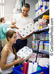 People buying bath tissue in the shopping mallin the shopping mall