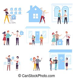 People Buying or Renting Real Estate Set, Agents or Brokers Helping Couples to Choose House Vector Illustration