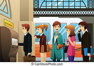 People buying train ticket