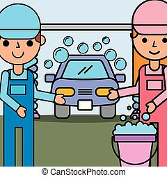people car service - mechanic girl and boy holding bucket...