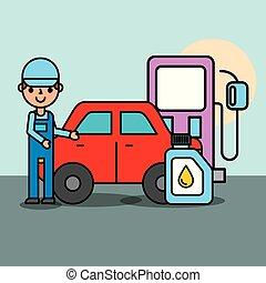 people car service - worker pump gasoline station engine oil...