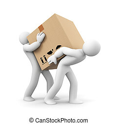 People carry heavy box. Teamwork