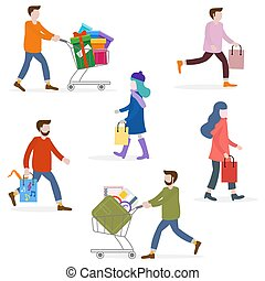 People carry shopping. Big sale, shopping concept.