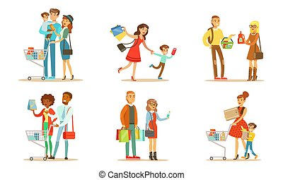 People Carrying Shopping Bags and Pushing Carts with Purchases Set, Families Buying Groceries and Taking Part in Seasonal Sale at Store Vector Illustration