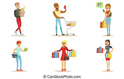 People Carrying Shopping Bags with Purchases Set, Young Men and Women Buying Groceries and Taking Part in Seasonal Sale at Store Vector Illustration