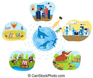 People cartoon characters explore world in virtual reality glasses, innovative technology vector illustration