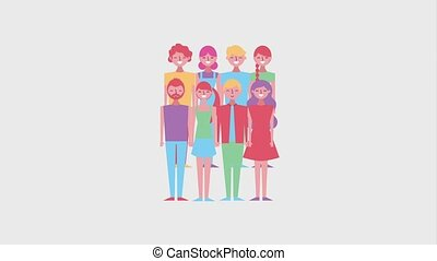people cartoon characters group female and male animation