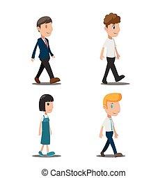 People Cartoon Walk Collection Set Vector