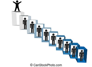 A person on top of a hierarchy of cubicle people celebrates success promotion freedom or retirement.
