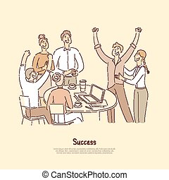 People celebrating achievement together, congratulating coworker on job promotion, happy about reaching goals banner