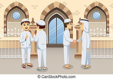 People celebrating Eid-Al-fitr - A vector illustration of ...