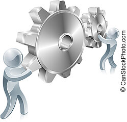 People changing settings illustration of two silver men turning cogs or gears