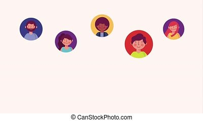 people character community - people woman and man in round...