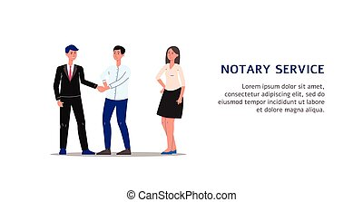 People characters executing documents in notary service flat...