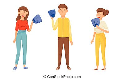 People Characters Expressing Various Emotions Standing and Holding Masks with Opposite Emotions in Their Hands Vector Illustrations Set