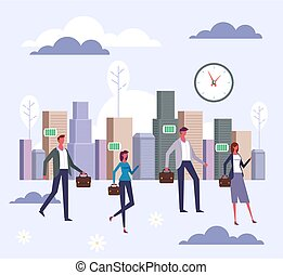 People characters office workers go to work. Vector flat graphic design cartoon illustration