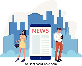 People characters reading morning news. Urban city life concept. Vector flat graphic design cartoon illustration