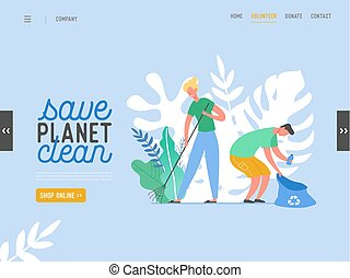 People Characters Removing Trash from Planet. Characters Cleaning Earth Surface. Recycling and Ecology, Saving Planet Concept Website Landing Page, Web Design Flat Vector Illustration, Banner