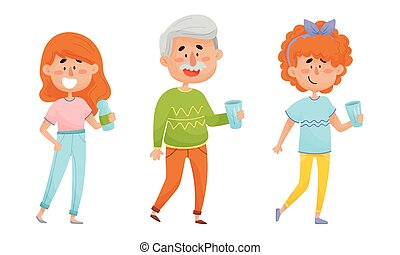 People Characters Standing and Drinking Still Mineral Water from Plastic Bottle Vector Illustrations Set
