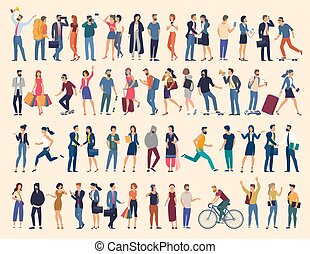 people characters various activities