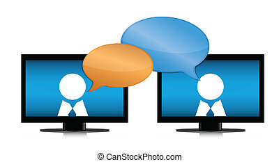 People chatting through internet