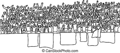People cheering at stadium vector illustration sketch doodle hand drawn with black lines isolated on white background